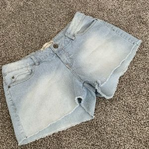 Inked and Faded Denim Shorts